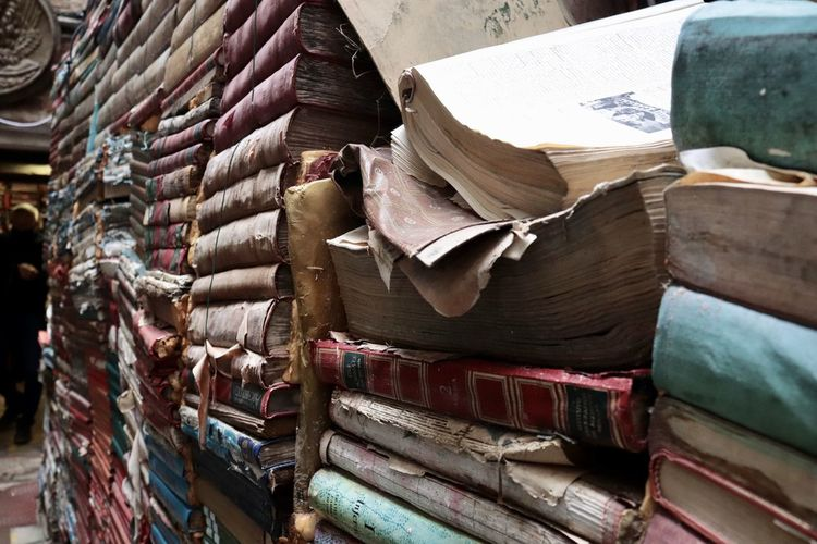 High angle view of old books