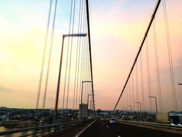 Transportation Car Sunset The Way Forward Highway Bridge