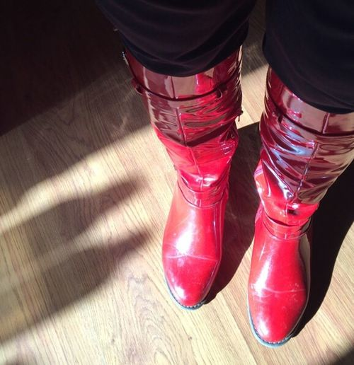 Two Is Better Than One Cropped Red These Boots Are Made For Walking Birdseyeview Iphonephotography Indoors  Daylight Top To Bottom Shadows & Lights Fashion Black Two Boots Two Legs Hello World Iphone6 Contrast Shadows Laminated Floor A Bird's Eye View