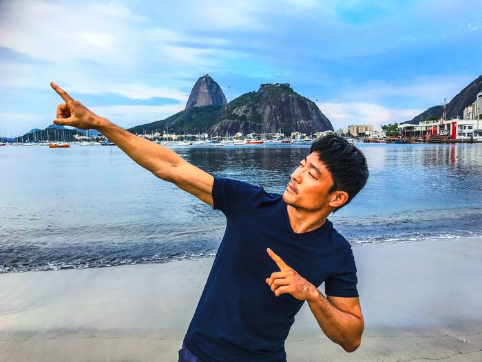 They can imitate your style but they can't imitate your creativity. Travel Posing Imitation UsainBolt Water Real People Sea One Person Lifestyles Sky Beach Beauty In Nature