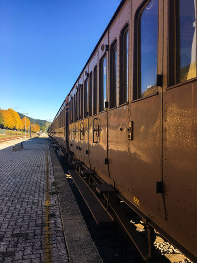 Returning home on vintage train Autumn Blue Sky Castagne Day Italy Locomotive Marradi Mode Of Transport No People Outdoors Public Transportation Rail Transportation Railroad Station Railroad Station Platform Railroad Track Sky Steam Train Sun Train - Vehicle Transportation Travelling Home For The Holidays Vintage Vintage Trains Traveling Home For The Holidays