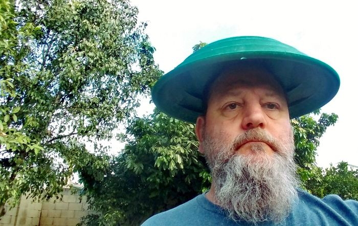 Gold Pan - Better Than A Hat Gold Pan Hat Tree One Person Headshot Mature Adult Green Color Outdoors Day Sky One Man Only Portrait Oakstrails Photos The Oakstrails Photos The Oakstrails Art Is Everywhere Shaded Shade Head Cover Headwear Head Covering Green Bearded Bearded Man Rethink Things