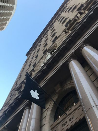 Apple Store Architecture Low Angle View Building Exterior Built Structure Day No People Outdoors Road Sign City Sky