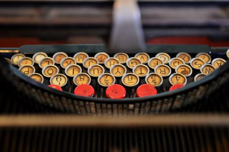 High angle view of vintage typewriter keys