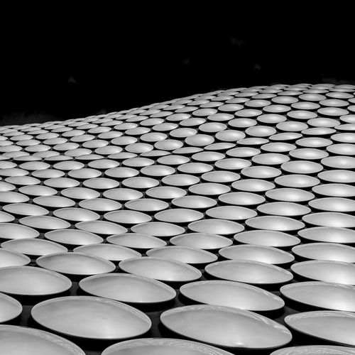 Selfridges building, Birmingham, UK Pattern In A Row Repetition Indoors  No People Large Group Of Objects Order Design Arrangement Side By Side Focus On Foreground Close-up Still Life Abundance Illuminated Shape Absence Lighting Equipment Geometric Shape Table Black Background Selfridges