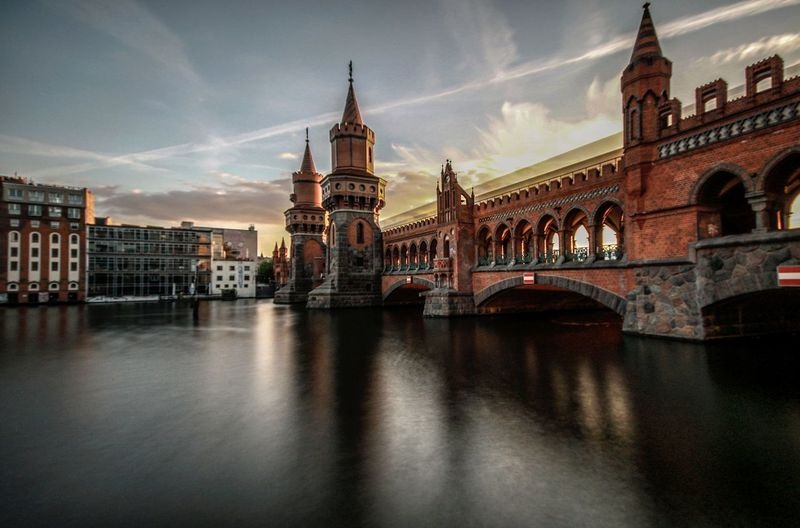 Bridge - Man Made Structure Architecture Travel Destinations Cloud - Sky City Cityscape Sky Urban Skyline Berlin Sunset Traffic Berlin, Germany  Berlin Mitte Cityscape Photography Berlincity Berliner Ansichten Oberbaumbrücke Bridge Long Exposure Live For The Story The Street Photographer - 2017 EyeEm Awards The Architect - 2017 EyeEm Awards EyeEmNewHere Mobility In Mega Cities