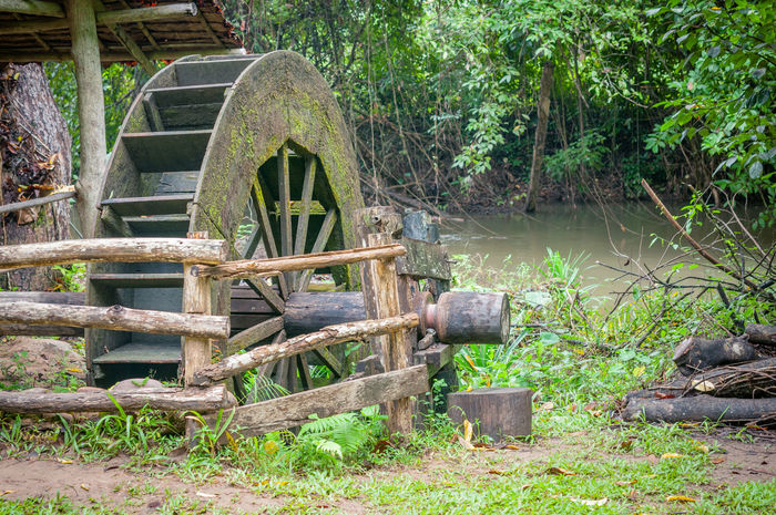 Asian Culture Concept Create Culture Day Design Eym Idea Industrial Nature No People Object Old Old-fashioned Outdoors Retro River Style Tool Vintage Water Wheel Watermill Wood Wood - Material
