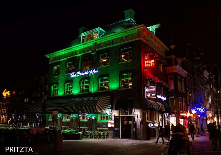 Amsterdam City Night Lights Thegrasshopper Nighlife Green Check This Out Enjoying Life