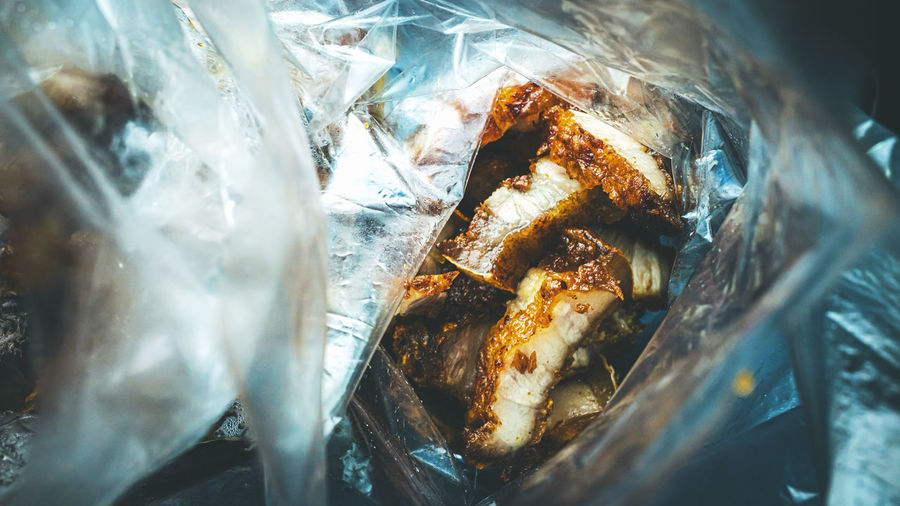 Close-up of meat in plastic