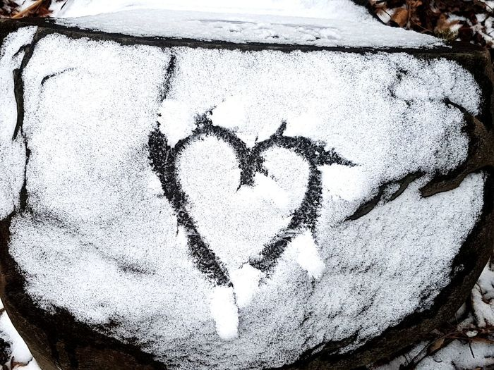 Snow Covered Rock Snow Winter Textured  Love Text Heart Shape Close-up