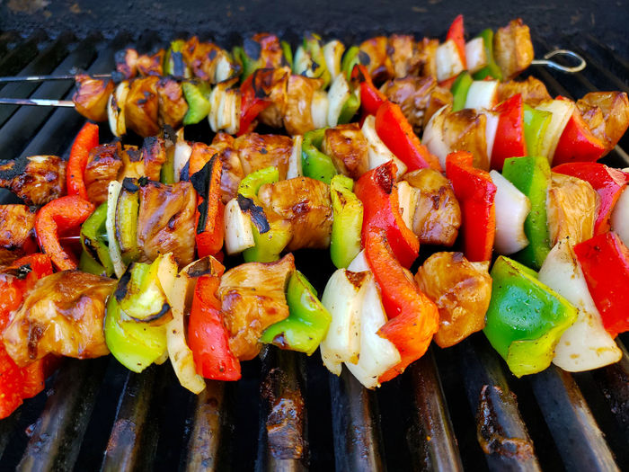 Close-up of vegetables on barbecue