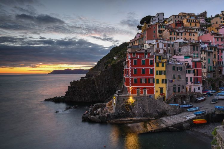 Just after sunset at Riomaggiore, the Cinque Terre Cinque Terre European  After Sunset Architecture Beauty In Nature Building Exterior Built Structure City Cloud - Sky Day Dusk Horizon Over Water Italian Italy Nature No People Outdoors Riomaggiore Scenics Sea Sky Sunset Travel Destinations Village Water Travel Tourism