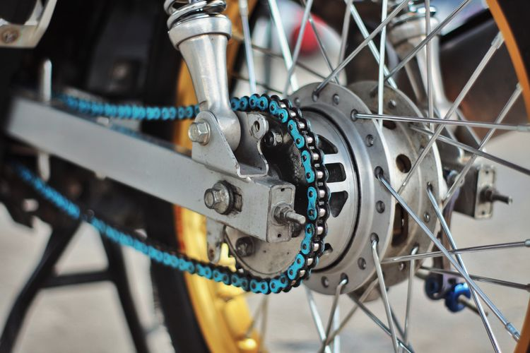 Close-up of motorcycle chain
