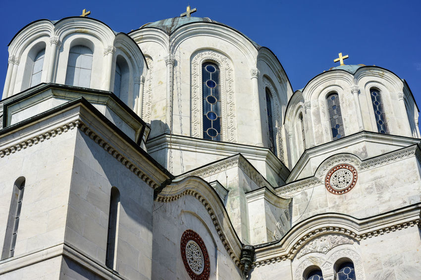 St George church on Oplenac, Topola, Serbia St George Topola, Serbia Arch Architecture Belief Building Building Exterior Built Structure Day Low Angle View Nature No People Oplenac Place Of Worship Religion Rose Window Sky Spirituality Window