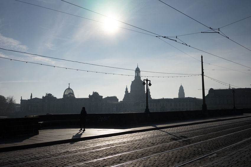 Augustusbridge Augustusbrücke Baroque Bridge - Man Made Structure City Dresden Silhouette Skyline Travel Destinations