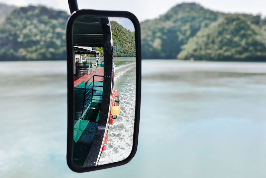 Vacations Beauty In Nature Ferry Boat Focus On Foreground Journey Langkawi Island Malaysia Mirror Reflection Nature Nautical Vessel Rear View Mirror Reflection Sea Sea Travel Transportation Travel Upper Deck