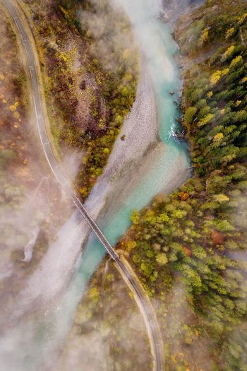 Water Outdoors Landscape Aerial View No People Day Nature Motion Tree Beauty In Nature Sky Lost In The Landscape Sunlight Scenics Mountain Aerialphotography Hikingadventures Railway River Water Perspectives On Nature