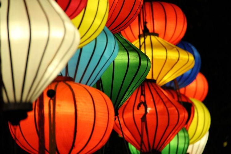 Close-Up Of Multi Colored Lanterns