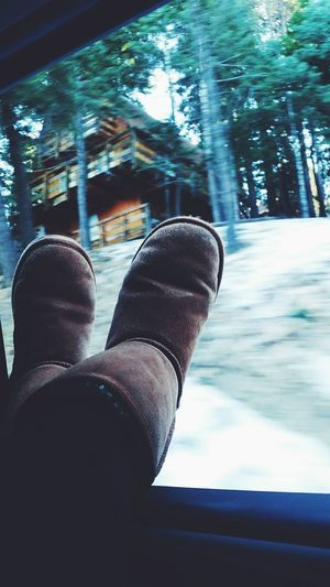 My Favorite Place Up in the mountains where escaping reality is easy. Personal Perspective First Eyeem Photo Beauty In Nature Mountains Snow Scenery Boots Cabin Woods Leisure Activity