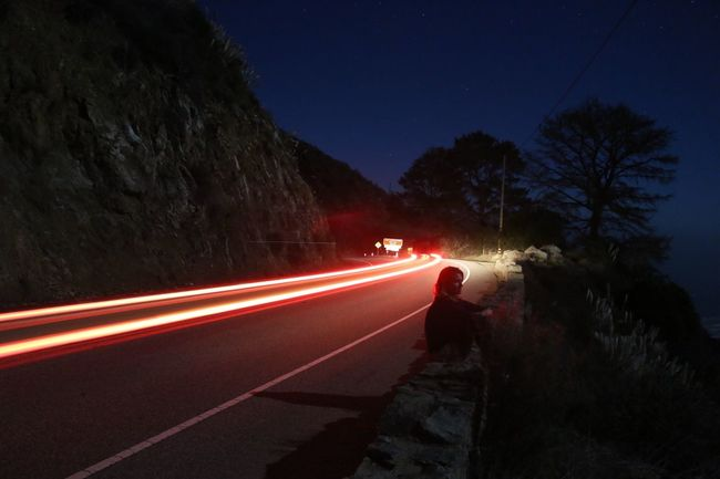 Relax at night Relaxing Ocean Night Road Speed Light Trail Illuminated Long Exposure Motion