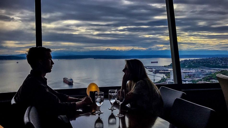 Place Of Heart Sky Cloud - Sky Real People Sitting Two People Mode Of Transport Window Transportation Lifestyles Men Seattle Space Needle SeattleLife Dinner Romantic Togetherness Day Photographing Friendship Photography Themes Nature Beauty In Nature Love Sea And Sky Seattle