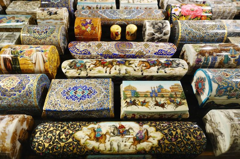 Collection of handcrafted miniature boxes Basar Iran EyeEm Selects For Sale Choice Pattern Large Group Of Objects Market Retail  Arrangement Multi Colored No People Floral Pattern Abundance Variation Market Stall Full Frame Art And Craft Day Design Still Life Business