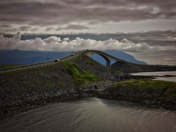 Norway Architecture Beauty In Nature Bridge Bridge - Man Made Structure Built Structure Cloud - Sky Connection Environment Long Nature No People Non-urban Scene Outdoors Power In Nature River Scenics - Nature Sky Tranquil Scene Tranquility Transportation Water