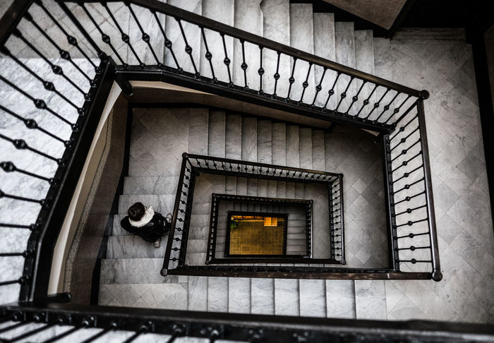 Why take the elevator when you have stairs as beautiful as these? Barcelona, Spain. Architecture Barcelona Catalunya Cloudy Cloudy Day Looking Down Old Town SPAIN Stairs Travel Travel Photography Architecture Photography Black And White Built Structure Day Fujifilm Historic Indoors  No People Old Buildings Staircase Stairways Steps Steps And Staircases Wide Angle