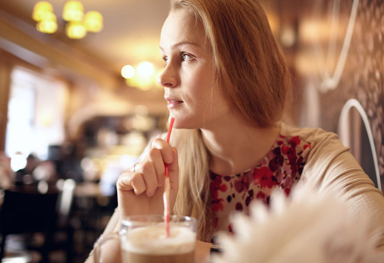 25-30 Beautiful Blonde Cafe Cappuccino Caucasian Close Up Enjoy Europe Girl Interior Lady Look Mood Natural Restaurant Soft Tubule Vintage Woman