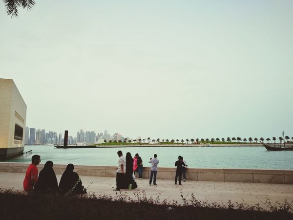 People Nature Relaxing City Doha,Qatar Togetherness Sea And Sky