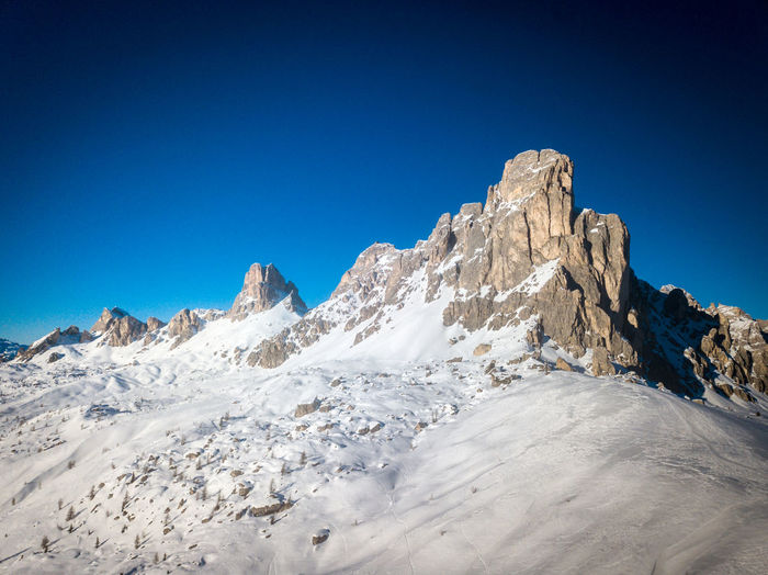 Picture of ra gusela -passo giau- over a blue sky, near cortina d'ampezzo, italy