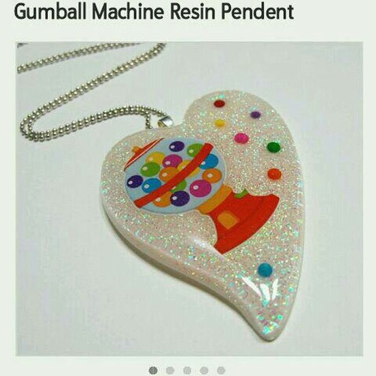 Sweets Heart Gumball Machines Necklace Gum Pendant Etsy Resin 2littlekisses