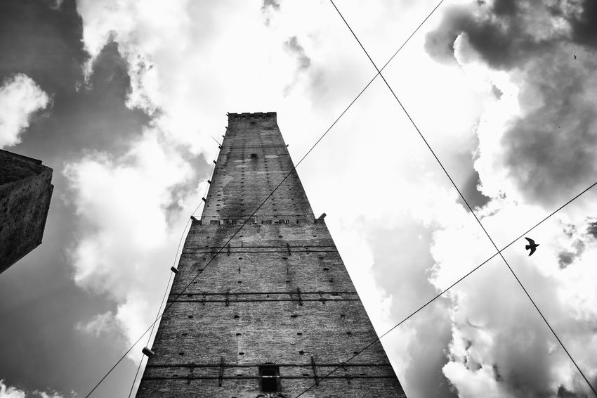 EyeEm Gallery Blackandwhite Black And White Blackandwhite Photography Bw_collection Getting Inspired Bologna EyeEm Best Shots EyeEm Cloud - Sky Sky Low Angle View Architecture Built Structure Building Exterior Nature No People Outdoors Building Tower Travel Destinations Directly Below