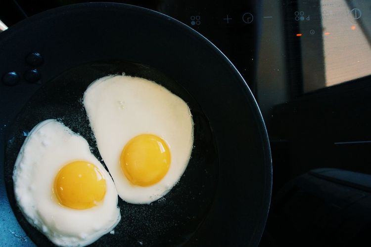 High Angle View Of Fried Eggs In Frying Pan