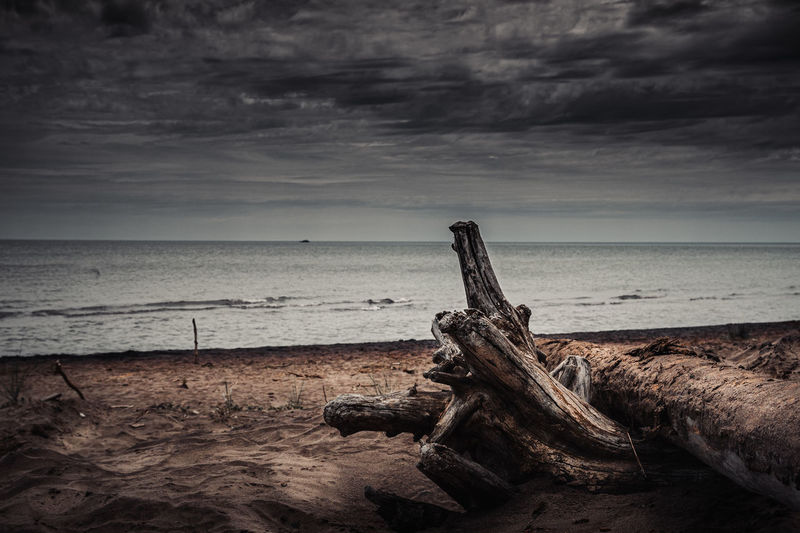 Cast In Paradise Sky Sea Water Cloud - Sky Horizon Horizon Over Water Beach Scenics - Nature Land Tranquility Tranquil Scene Nature Beauty In Nature No People Wood - Material Damaged Overcast Abandoned Outdoors Wood Driftwood Deterioration Ontario Nikon D7500 Mood Dark Vintage Landscape Wallpaper Sand Summer Lake Huron