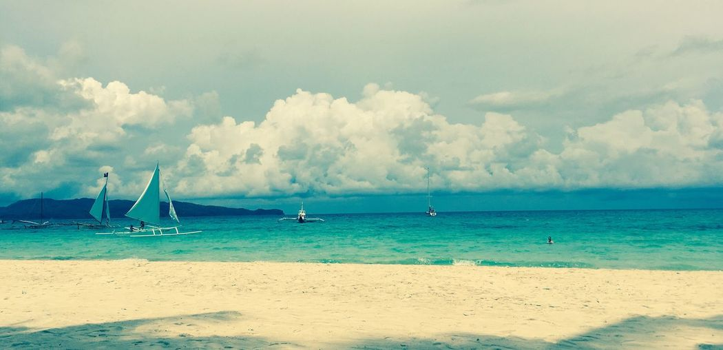 Poster Beach Poster Beach Philippines Boracay Easy Like Sunday Morning Boat Sommergefühle