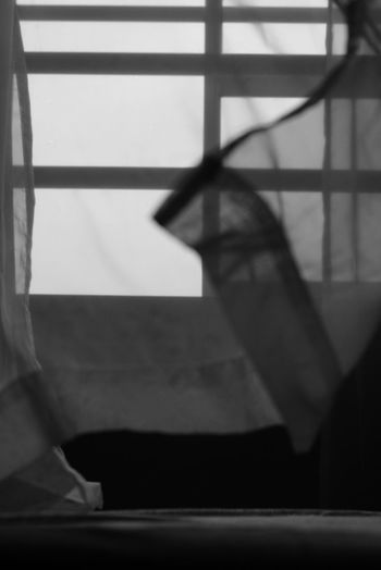 Black And White Curtain Shadow Window Close-up