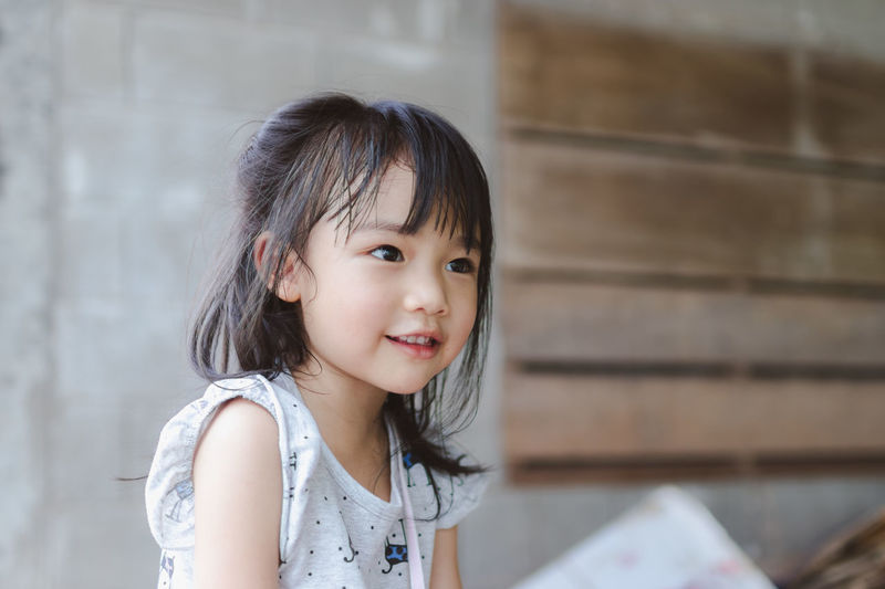 Cute Little Funny Happiness Smile Smiling Girl Asian  Brown Eyes