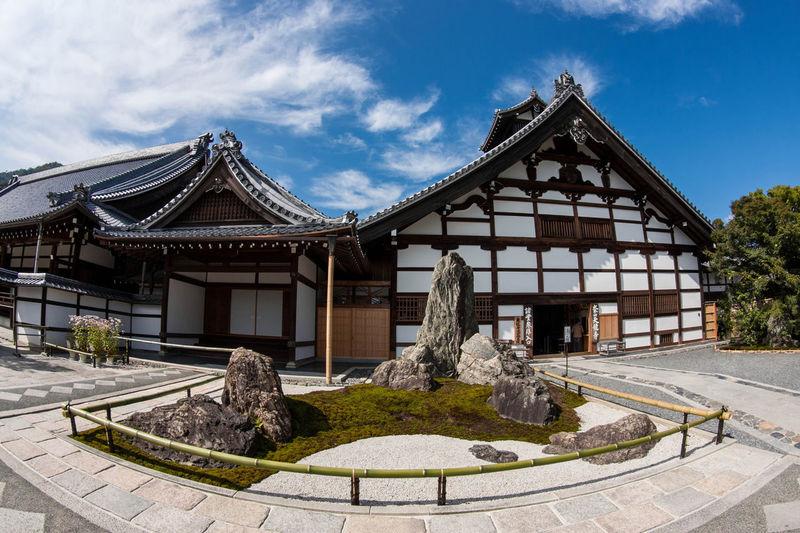 Exterior of tenryu-ji against sky in city