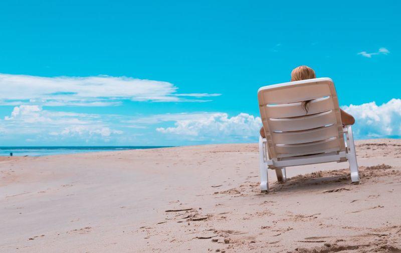 Beach Water Sea Sitting Relaxation Sand Blue Summer Sand Dune Hooded Beach Chair Lifeguard Hut Beach Towel Lifeguard  Sunbathing Folding Chair Beach Holiday Deck Chair
