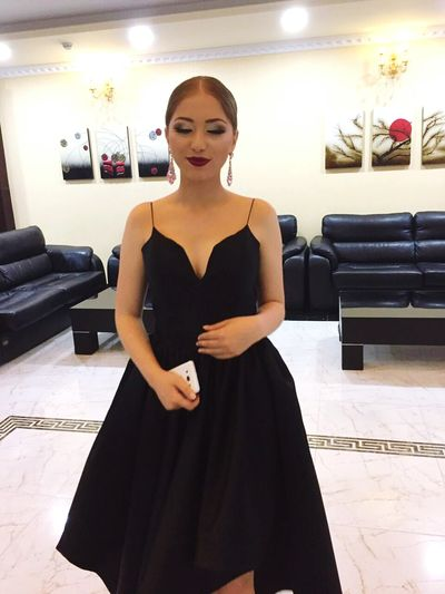 Only Women One Woman Only Dress Adults Only Black Color One Person Adult Indoors  Evening Gown Arts Culture And Entertainment Fashion People Elégance Young Adult One Young Woman Only Women Portrait Luxury Beauty Formalwear Makeup PromNight Prom2017