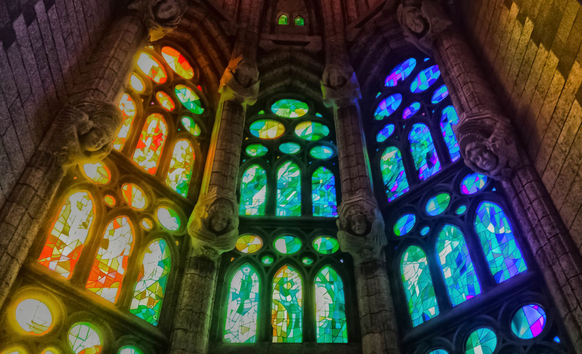 Stained glass window inside the Sagrada Familia in Barcelona , the colors and the play of light are the basis of the realization of this fantastic opera and effect!!! Art Art And Craft Close Up Colorful Colors Creativity Design Eye4photography  EyeEm Best Shots EyeEm Gallery Gaudi Gaudi #barcelona Glass Glass Art Indoors  Multi Colored No People Ornate Pattern Religion Repetition Sagrada Familia Sagradafamilia Showcase: February Vetrata