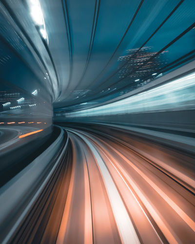 Warp Speed EyeEmNewHere Tokyo Architecture Blurred Motion Built Structure City Futuristic Illuminated Indoors  Light Trail Long Exposure Modern Motion Night No People Public Transportation Speed Subway Train Technology Train - Vehicle Transportation Tunnel The Architect - 2018 EyeEm Awards Capture Tomorrow