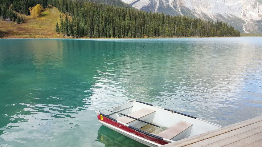 Boat Nautical Vessel Transportation Water Mode Of Transport Lake Moored Tranquil Scene Tranquility Tree Scenics Nature. Non-urban Scene Beauty In Nature Mountain Day Lakeside Outdoors No People Dock Yoho National Park British Columbia