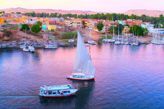 Water Nile Boats NileRiver Nubian Village Nubians Nubianisland Colors Travel Transportation Outdoors Travel Destinations Sunset No People