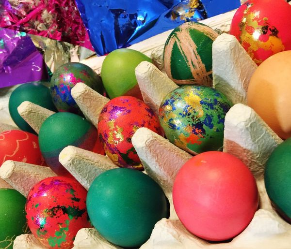 Easter Egg Craft Egg Arts Colorful Dyed Decorating Eggs... Easter Eggs Easter Egg Decorating Craft Childhood Memories Tradition Bright Colors Holiday Metallic Pink Blue Green Rows Egg Carton Easter Traditions Colorsplash Food