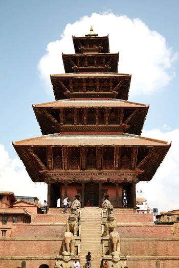 The highest temple in Nepal, kissing the clouds (seemingly). Nepal Temple Hinduism Architecture Built Structure Religion Building Exterior Belief Sky Place Of Worship Spirituality History Building Cloud - Sky Low Angle View Day Travel Travel Destinations Staircase No People
