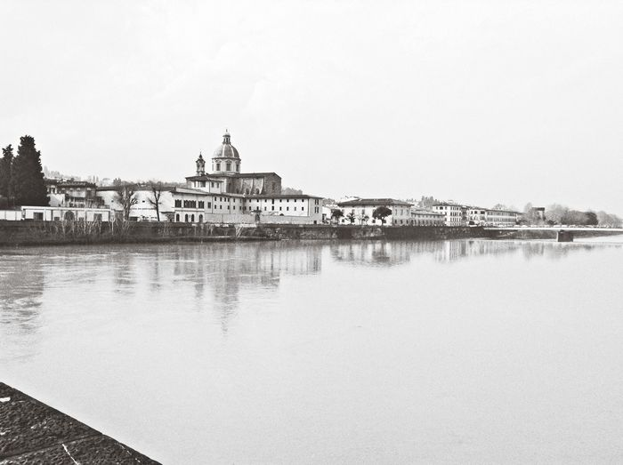 Italy Florence River Water_collection Landscape Landscape_Collection Riverside Black And White