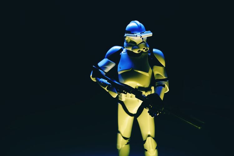 Helmet Studio Shot Black Background Headwear Robot Indoors  Sport One Person American Football Player Copy Space American Football - Sport Security Technology Clothing Standing Representation Three Quarter Length Human Representation Illuminated Star Wars Clone Trooper Clonetrooper Light Painting Light And Shadow Star - Space Hobby Toys Scale Model Scale Model Photography