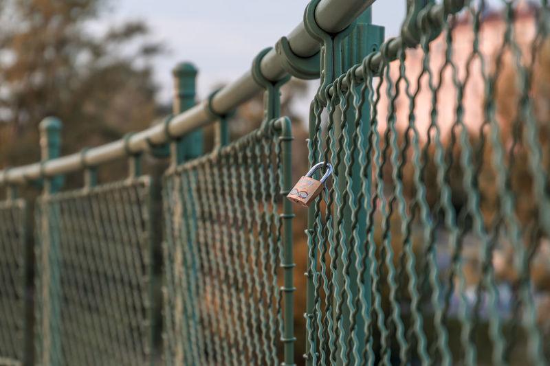 Padlocks hanging on chainlink fence